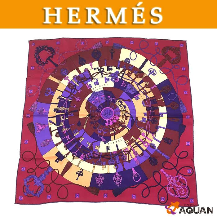 HERMES エルメスカレ70 スカーフTOURS DE CLES鍵への螺旋パープル シルク100%直営店カード付きレディース 女性 【未使用】【美品】エルメス シルクスカーフ