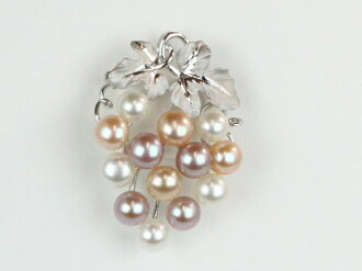 Pearl Pearl brooch freshwater pearls Freshwater Pearl multi color brooch 13 pcs grape design 6-8 mm Pearl Pearl pendant 2 ウエイパール Pearl Moonstone