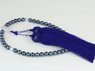 珍珠珠珍珠串念珠 Akoya 珍珠珠珍珠黑藍色 6.0-6.5 毫米紫色束絲珍珠珍珠月光石