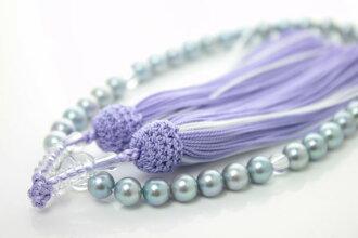 珍珠珠珍珠串念珠,Akoya 珍珠珠 7 毫米-7.5 毫米藍灰色顏色顏色紫色 Akoya 真正珍珠禮儀葬禮