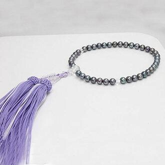珍珠珠珍珠串念珠 Akoya 珍珠串念珠海水珍珠灰色的 6.5-7.0 毫米彩色珍珠珠月光石