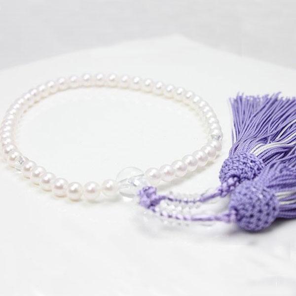 真珠 パール 数珠 アコヤ真珠 パール 数珠 念珠 5.5-6ミリ 新色紫房 パール 真珠 ムーンストーン