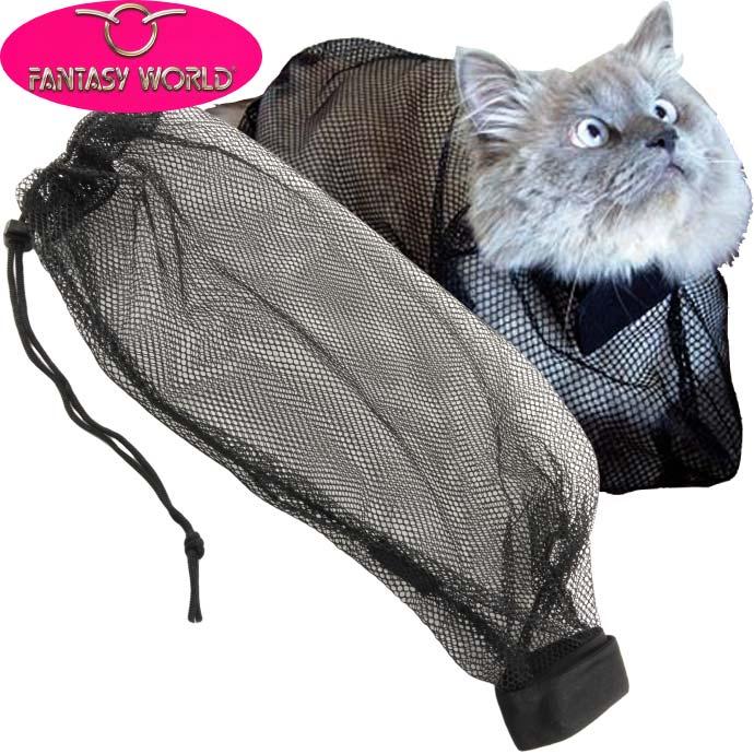 送料無料シャンプー時に被せて暴れを防ぐネットグルーミングバッグペット用品猫用シャンプー時に被せるネッ