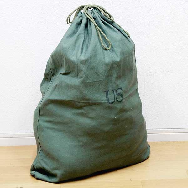 中古美品実物米軍コットンランドリーバッグ巾着袋♪ミリタリーダッフルバッグ放出品コンバット軍物アメリカ