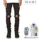SALE/セール/mnml/ミニマル/M1 STRETCH DENIM/BLACK/ダメージクラッシュジーンズ/ストレッチ/裾ZIPジップ/スキニー/スリムフィット/ストリート/