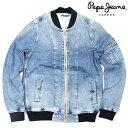 Pepe Jeans LONDON ぺぺジーンズロンドン [TEDDY]デニムMA-1ジャケット【INDIGO:インディゴ】【デニムジャケット】【ボンバージャケット】【ウォッシュ加工】【メンズ】【2017春新作】【送料無料】【あす楽】
