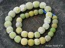【1609】ジャワ島出土インドパシフィック黄緑色単色発掘玉一連J【とんぼ玉】【アンティークビーズ】【送料無料】【ビーズ】【パーツ】【骨董】【antiquebeads】【beads】