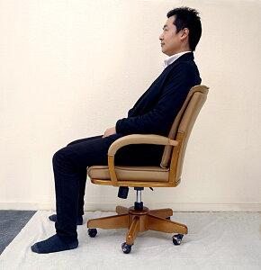 木製リクライニング肘付オフィスチェア♪ 【木製回転式キャスター付ダイニングチェア】木製椅子/木製昇降チェア/肘付き/座面高41.5-47.5cm