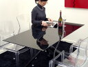 イタリア製昇降リフティングガラステーブルブラック色、昇降伸張式黒ガラステーブル、黒いガラステーブルイタリア製リフティングテーブル、高さ幅が変わる万能黒いガラステーブル♪