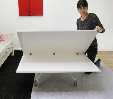 大きなサイズの昇降テーブル【伸長式リフティングテーブルEsprit-wh/キャスターグレイ】昇降伸長式テーブルイタリア製/ダイニングテーブル/リビングテーブル/高さ調整テーブル/テーブル高さ36〜82cm