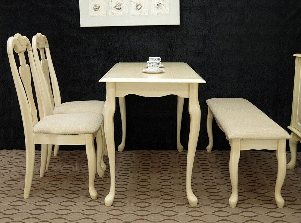 クイーンアン【木製テーブル、コンソール、チェア2脚とベンチ1台セット アンティークホワイト色】家庭用テーブル4点セット、店舗用商品陳列用待合用、コンパクトテーブルセット