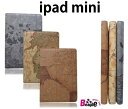 [email service free shipping  iPad mini notebook type leather-like case / map pattern / cover /1831  10P17May13 ]