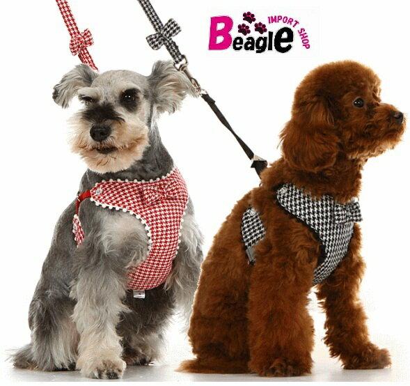 即納メール便送料無料千鳥柄メッシュハーネス・リードセット犬用品・ペットグッズ・DOGハーネス小型犬中