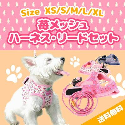 メール便送料無料苺メッシュハーネス・リードセット犬用品・ペットグッズ・DOG・セールハーネス小型犬中