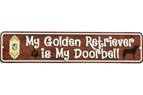 ゴールデンレトリバー 雑貨 My Golden Retriver is My Doorbell ミニストリートサイン アメリカンブリキ看板 アメリカ ブリキ看板 アメリカン雑貨 アメリカ雑貨 サインプレート サインボード メタルプレート ペット 看板 インテリア 動物 犬