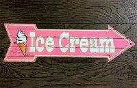 アイスクリーム★IceCream・ソフトクリーム柄・アローカット(矢印型)・ジンジャーブレッド★アメリカンブリキ看板★クリスマスアメリカン雑貨アメリカ雑貨サインプレートサインボードティンサインメタルプレートインテリアブリキ看板