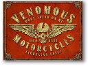 極悪モーターサイクルス★VENOMOUS MOTORCYCLES・スカルのトレードマーク★レトロ調★アメリカンブリキ看板★アメリカ ブリキ看板 アメ…