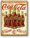 コカコーラ★ボトル柄・COKE 5 BOTTLE RETRO・レトロシリーズ★アメリカンブリキ看板★アメリカ ブリキ看板 アメリカン雑貨 アメリカ雑…