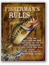 ブラックバス★FISHERMAN'S RULES・釣り系★アメリカンブリキ看板★アメリカ ブリキ看板 アメリカン雑貨 アメリカ雑貨 サインプレート …