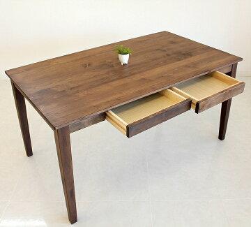 【送料無料】120cmテーブル単品ダイニングテーブルアルダー無垢ウォールナット色引出し付テーブル