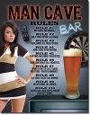 1713Man Cave-Rules Beerビール ビア グラス レディアメリカン雑貨 ブリキ看板Tin Sign ティンサイン3枚以上で送料無料!
