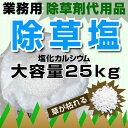 【ポイント10倍】除草塩 除草剤代用品 業務用 塩 塩化カルシウム25kg 安心の有害物質検査済み