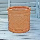 【軽くておシャレな植木鉢】 ファイバークレイ ウィンドシリンダーポット テラコッタ色 27(25)cm アンティーク テラコッタ風 バラにおススメの植木鉢 おしゃれ 園芸 ガーデニング