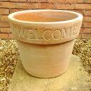 ウェルカムポット 36cm NC1012 WELCOMEな植木鉢 ヨーロピアンなテラコッタ 植木鉢 おしゃれ 陶器鉢 ベトナム鉢 素焼き鉢 園芸 ガーデニング