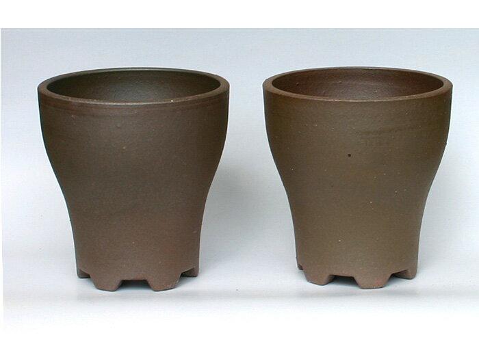 *国産陶器鉢* 植木鉢 ツインポット 還元 6号 TH−6 (2鉢組)素焼鉢 テラコッタ 園芸 ガーデニング 山野草 エビネ 盆栽 サボテン