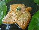 ?紅葉に乗ったカエル? プカリ(黄金色) 睡蓮鉢に浮かべて楽しいフローターです 発泡陶器製 水生植物もイキイキ見える! ビオトープが楽しく見える! フローティング オブジェ メダカや金魚も喜ぶ!? P15Aug15