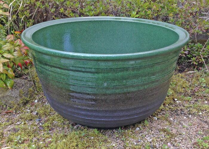☆11月14日再入荷☆ 大型 輸入睡蓮鉢 緑豊 17号 グリーン 57cm 水蓮鉢 陶器 和風庭園やビオトープ創りに!ウォーターガーデンには欠かせません