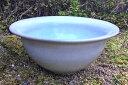 中型睡蓮鉢 CS-19 13号 ホワイト(グレー)に水色 陶器製 ビオトープ創りに!メダカや金魚に最適な睡蓮鉢です!