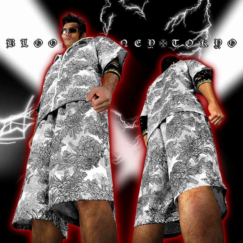 花総柄 半袖セットアップジャージ 上下 白×黒 服 オラオラ系 悪羅悪羅系 ヤクザ ヤンキー チョイ悪 チョイワル 派手 メンズ ファッション
