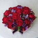 【お花でできたケーキです。】 赤バラがギュッと詰まったフラワーケーキです。フラワーケーキLL/レッドローズ エレガント【クール便でお届け!】【誕生日花】【還暦祝い】【バレンタインギフト】