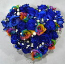 【お花でできたケーキです】【フラワーケーキ】レインボーローズ&ブルーローズハートケーキ(バレンタイン)【誕生日】【結婚祝い】【青いバラ】【七色のバラ】