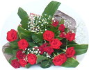バラの花束/赤バラ&カスミ草・花束&ブーケ【誕生日花】【成人式のお祝花】【記念日 花】