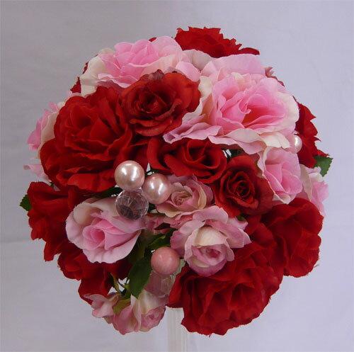 ウエディングブーケ/ピンク&レッドローズパールブーケ 造花ブーケ