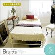 優美なロートアイアンの曲線 アイアンベッド Brigitte(ブリジット) シングルサイズ ホワイト ベッドフレーム お姫様 姫系 かわいい 可愛い メッシュベッド BSK-905SS-WH