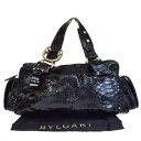 【中古】 中美品 ブルガリ BVLGARI レオーニ ハンドバッグ ブラック パイソン レザー 保存袋付き 89B1223