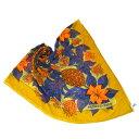 【中古】 超美品 エルメス HERMES ジャンボ スカーフ ストール ショール 花柄 オーカー オレンジ コットン 100% 68BA688