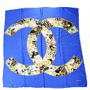 ショッピングスカーフ 【中古】 シャネル CHANEL 大判 スカーフ ココマーク アクセサリー柄 ブルー シルク 100% 05EY406