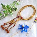 日蓮宗本式数珠*法華本連念珠◆ 星月菩提樹 赤瑪瑙仕立 尺二 ◆利休梵天房 桐箱付