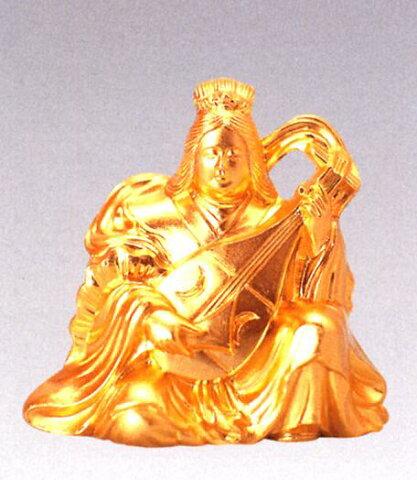 仏像 七福神■ 弁財天 純金メッキ 6.2■合金製 【高岡銅器】