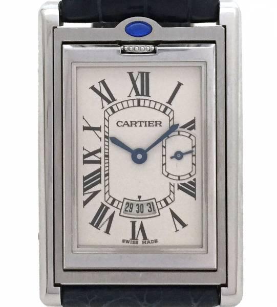 カルティエ 時計 タンクバスキュラント XL メンズ 紳士用 W1016055 クロコ ストラップ スモセコ SS Cartier 腕時計 レザー 【】