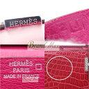 【BrandMax】エルメス/2つ折り長財布「ベアン・クラシック」 ダイヤ入り/アリゲーター×750WG/ピンク/J刻【中古】