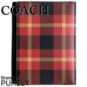 コーチ COACH メンズ パスポートケース アウトレット チェック柄 Printed coated canvas F55471 LBA RED PLAID B...