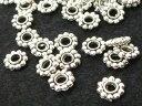 フラワー ロンデル アクセサリーパーツ 銀古美 約7mm (約100個入り)