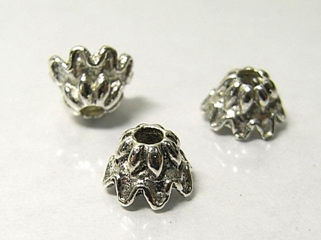 チベタン 座金 アクセサリーパーツ ベル型 銀古美 約6mm (10個セット) ビーズキャップ