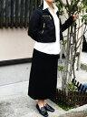 【11号】黒フラノミディ丈セミフレアスカート