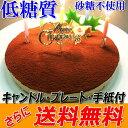 糖質75%カット 誕生日ケーキ 低糖質 生チョコレアチーズケーキ【キャンドル・プレート・メ